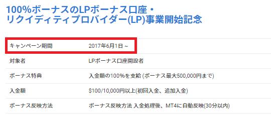 LANDFX公式サイトのLPボーナス説明画面