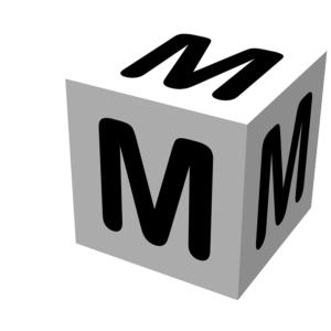 「M」と書かれたサイコロ