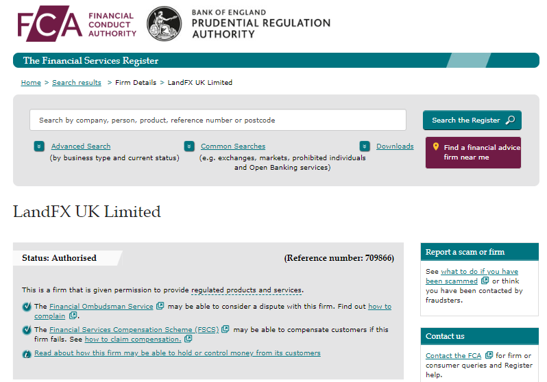 FCA公式サイトのLANDFXのページ