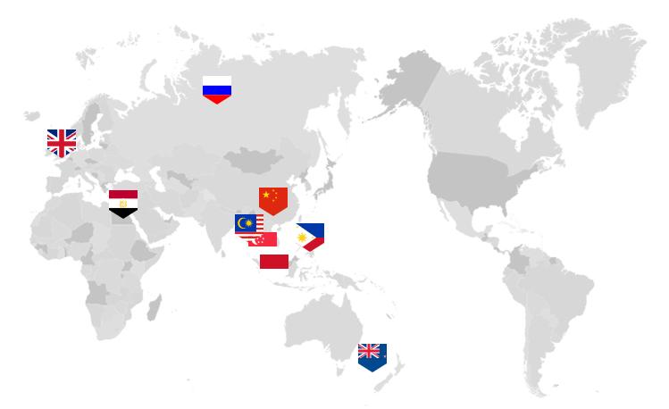 LANDFXの支店を表す世界地図