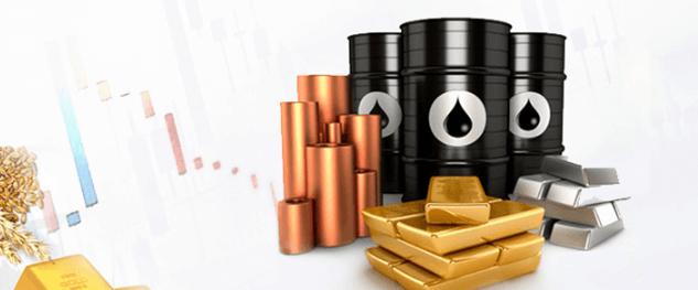 金・銀・オイルなど投資商品が並べられている