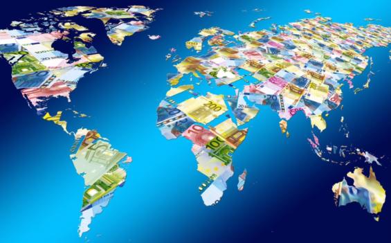 お金で作られた世界地図