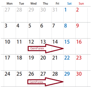 入金ボーナスカレンダー