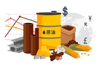 ドルや円のマークと原油トウモロコシのイラスト