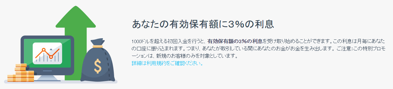 iFOREXの利息3%サービス