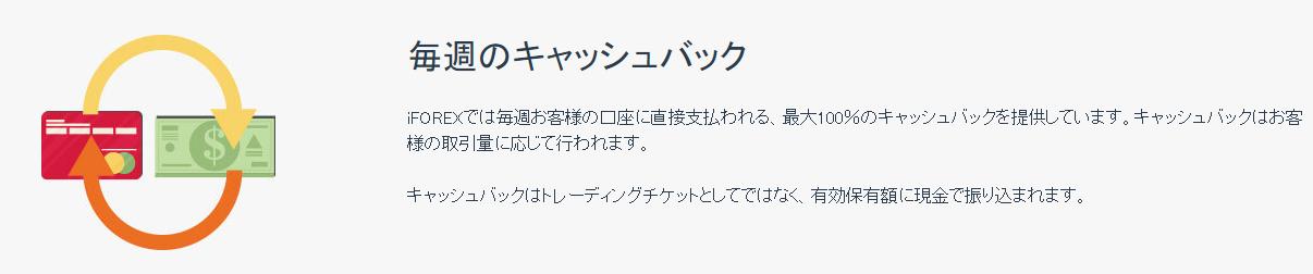 iFOREX公式サイトのキャッシュバック画像