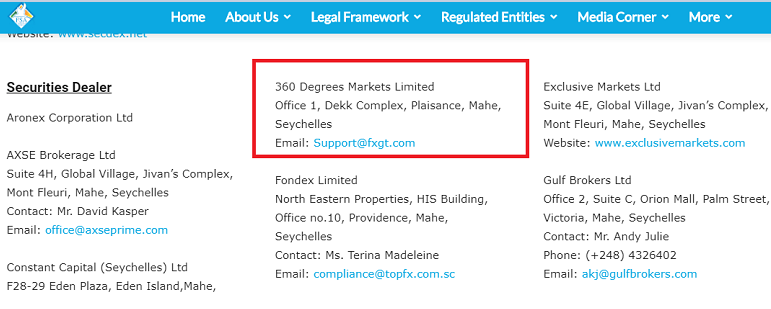 FSA公式サイト・FXGTのライセンス証明