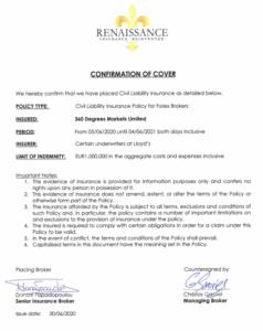 FXGTブローカー保険証明書