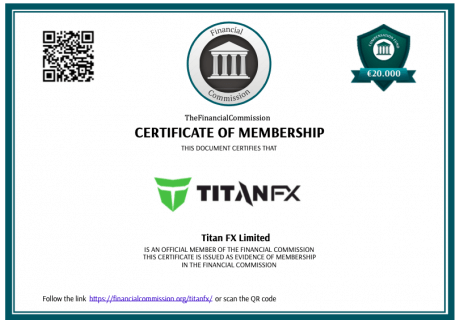 TitanFXのThe Financial Commission証明書