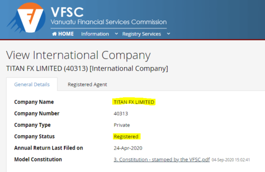 VFSC公式サイト・TitanFXのライセンス証明