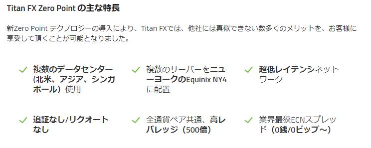 TitanFXのZeroPointの特徴