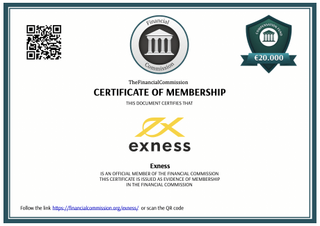 ExnessのThe Financial Commission加盟証明書