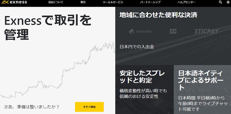 Exness公式サイトトップページ画像