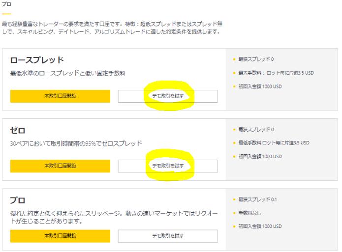 Exnessのデモ口座申請画面